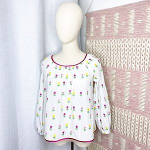 Tuckernuck Floral Embroidered Balloon Sleeve Top